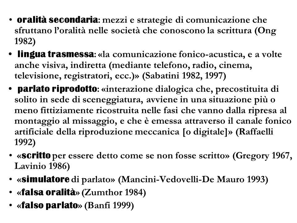 oralità secondaria : mezzi e strategie di comunicazione che sfruttano loralità nelle società che conoscono la scrittura (Ong 1982) lingua trasmessa :