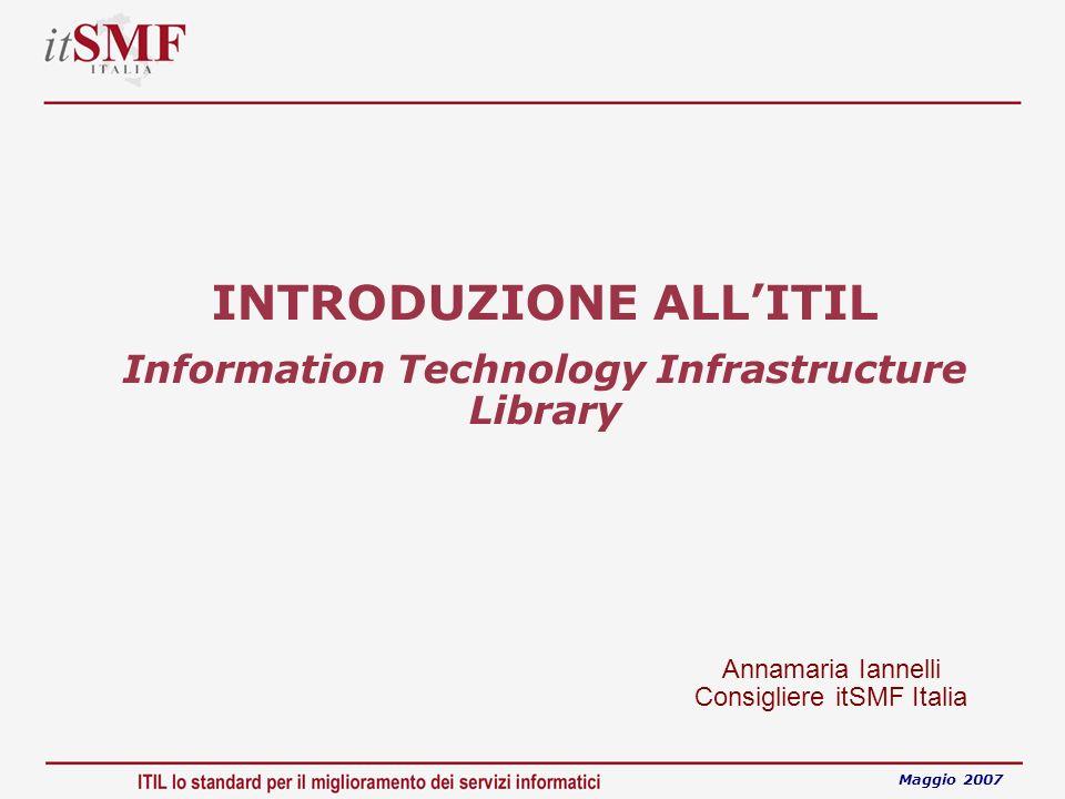 INTRODUZIONE ALLITIL Information Technology Infrastructure Library Maggio 2007 Annamaria Iannelli Consigliere itSMF Italia