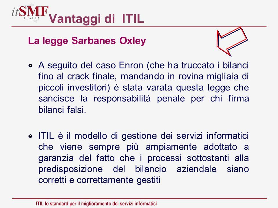 Vantaggi di ITIL La legge Sarbanes Oxley A seguito del caso Enron (che ha truccato i bilanci fino al crack finale, mandando in rovina migliaia di picc