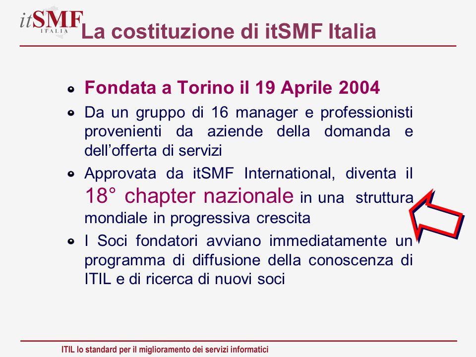 La costituzione di itSMF Italia Fondata a Torino il 19 Aprile 2004 Da un gruppo di 16 manager e professionisti provenienti da aziende della domanda e