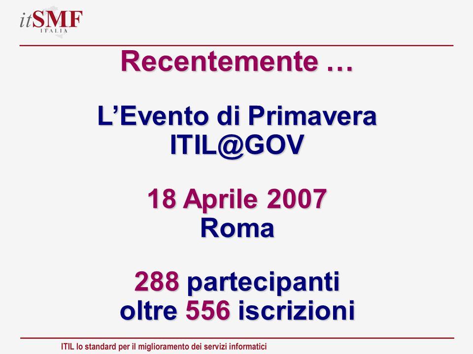 Recentemente … LEvento di Primavera ITIL@GOV 18 Aprile 2007 Roma 288 partecipanti oltre 556 iscrizioni