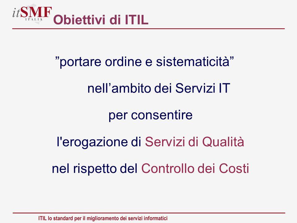 Obiettivi di ITIL portare ordine e sistematicità nellambito dei Servizi IT per consentire l'erogazione di Servizi di Qualità nel rispetto del Controll