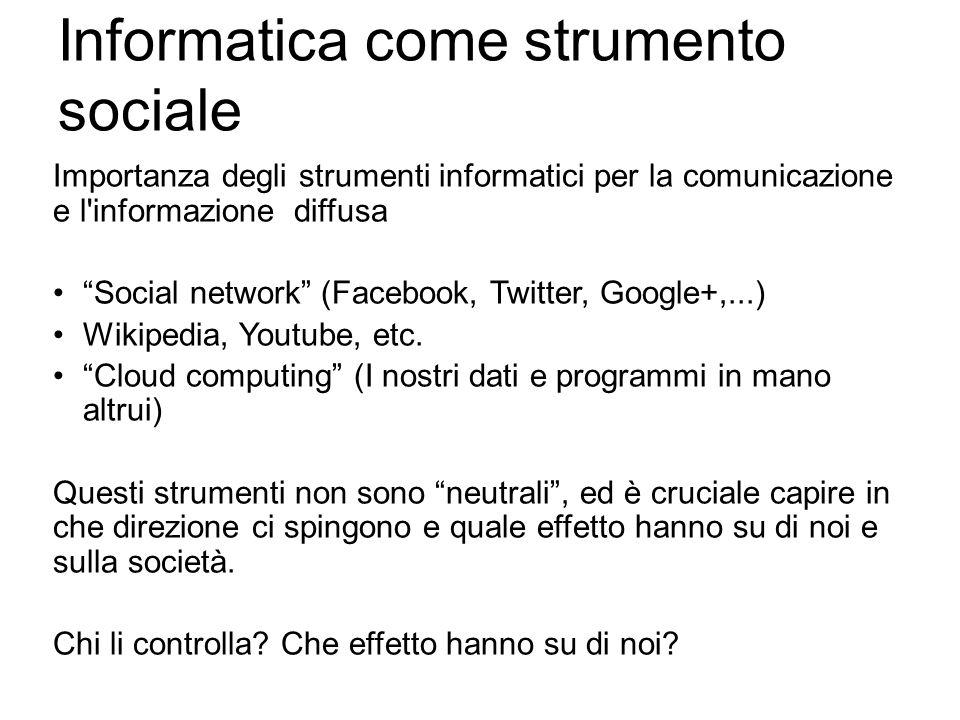 Informatica come strumento sociale Importanza degli strumenti informatici per la comunicazione e l'informazione diffusa Social network (Facebook, Twit