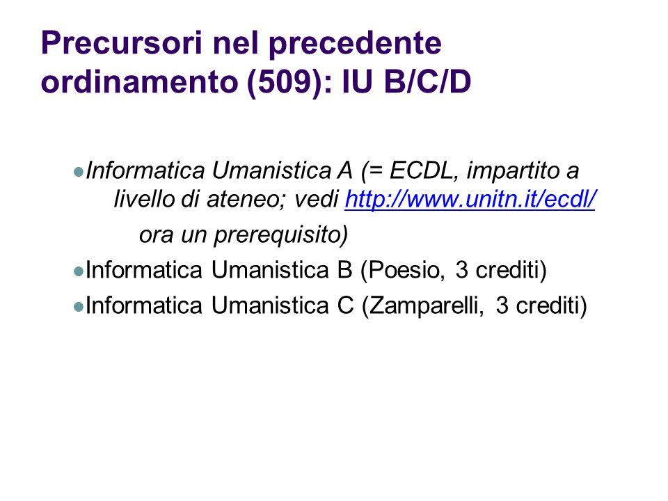 Precursori nel precedente ordinamento (509): IU B/C/D Informatica Umanistica A (= ECDL, impartito a livello di ateneo; vedi http://www.unitn.it/ecdl/h