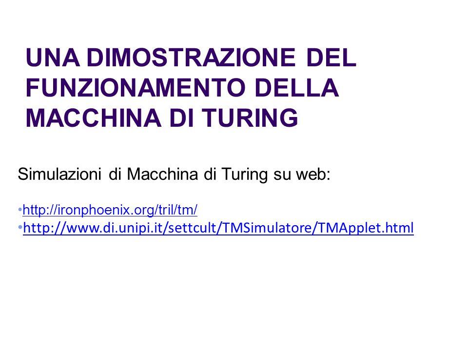 UNA DIMOSTRAZIONE DEL FUNZIONAMENTO DELLA MACCHINA DI TURING Simulazioni di Macchina di Turing su web: http://ironphoenix.org/tril/tm/ http://www.di.u