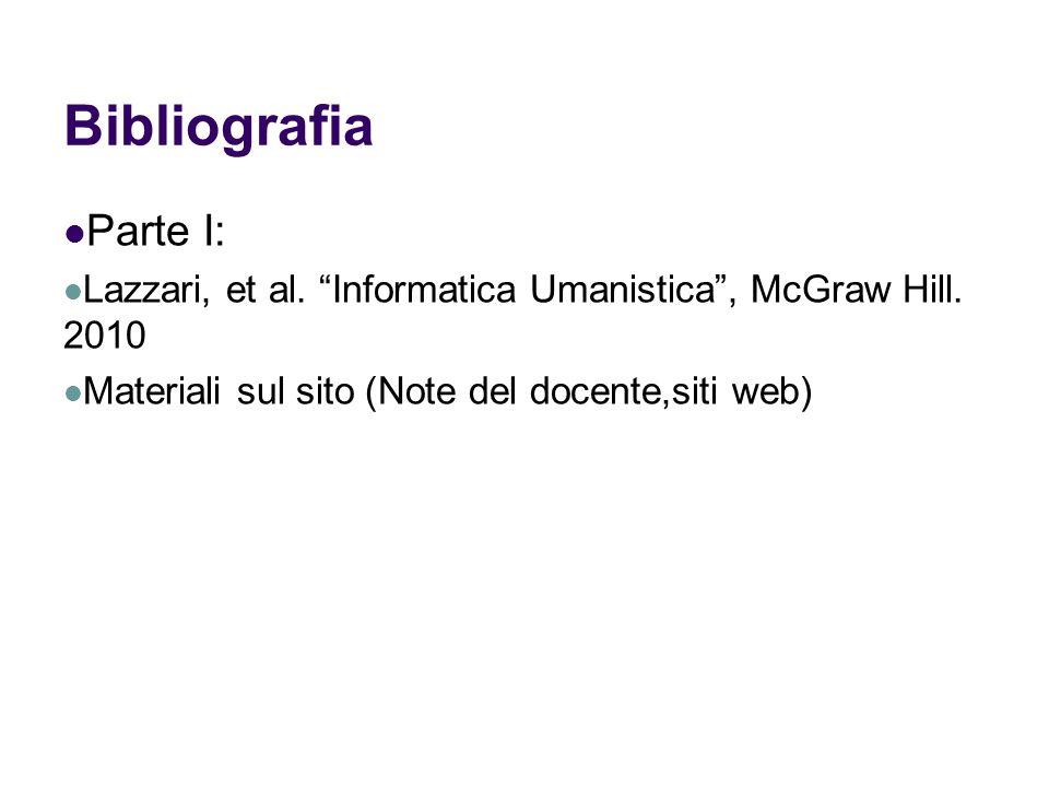 Bibliografia Parte I: Lazzari, et al. Informatica Umanistica, McGraw Hill. 2010 Materiali sul sito (Note del docente,siti web)
