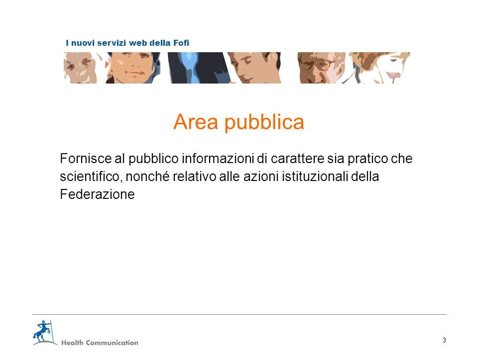 I nuovi servizi web della Fofi 3 Area pubblica Fornisce al pubblico informazioni di carattere sia pratico che scientifico, nonché relativo alle azioni istituzionali della Federazione
