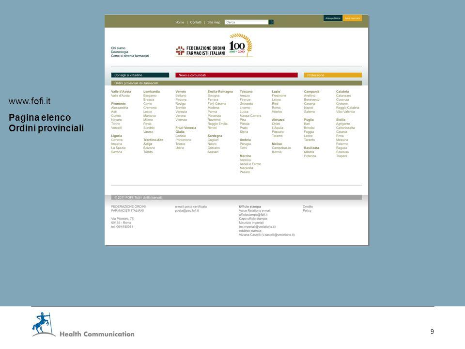 I nuovi servizi web della Fofi 9 www.fofi.it Pagina elenco Ordini provinciali