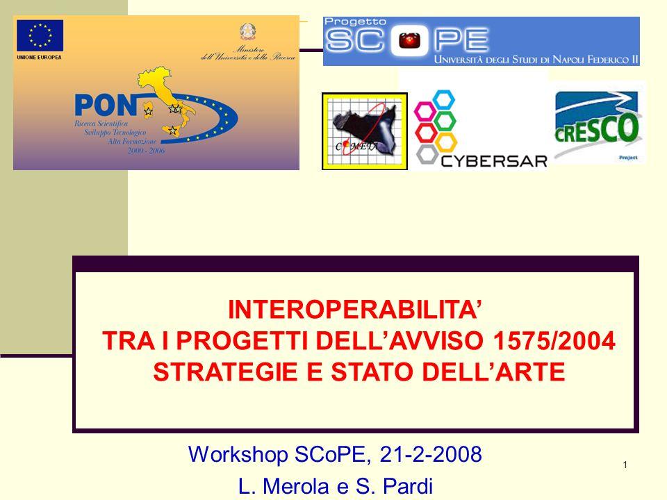 1 Workshop SCoPE, 21-2-2008 L. Merola e S. Pardi INTEROPERABILITA TRA I PROGETTI DELLAVVISO 1575/2004 STRATEGIE E STATO DELLARTE