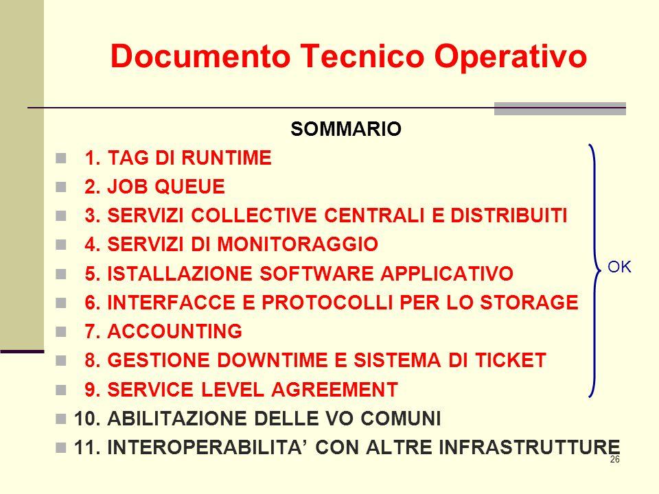 26 Documento Tecnico Operativo SOMMARIO 1. TAG DI RUNTIME 2. JOB QUEUE 3. SERVIZI COLLECTIVE CENTRALI E DISTRIBUITI 4. SERVIZI DI MONITORAGGIO 5. ISTA
