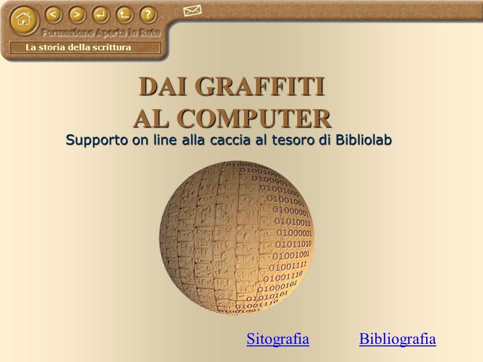 La storia della scrittura DAI GRAFFITI AL COMPUTER Supporto on line alla caccia al tesoro di Bibliolab SitografiaBibliografia