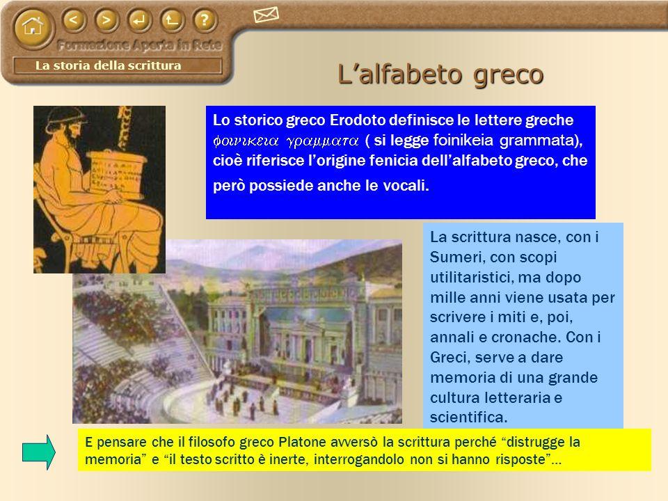 La storia della scrittura Lalfabeto greco Lo storico greco Erodoto definisce le lettere greche ( si legge foinikeia grammata ), cioè riferisce lorigin