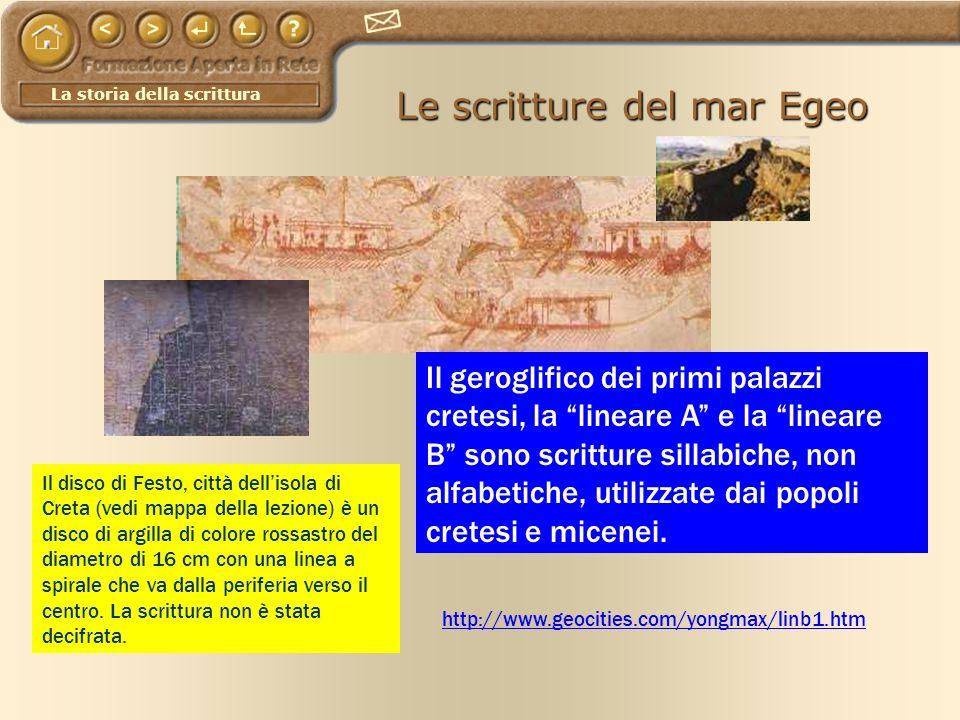 La storia della scrittura Le scritture del mar Egeo http://www.geocities.com/yongmax/linb1.htm Il geroglifico dei primi palazzi cretesi, la lineare A