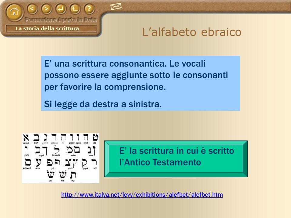 La storia della scrittura Lalfabeto ebraico http://www.italya.net/levy/exhibitions/alefbet/alefbet.htm E una scrittura consonantica. Le vocali possono