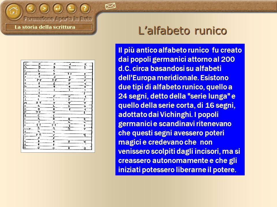 La storia della scrittura Lalfabeto runico Il più antico alfabeto runico fu creato dai popoli germanici attorno al 200 d.C. circa basandosi su alfabet