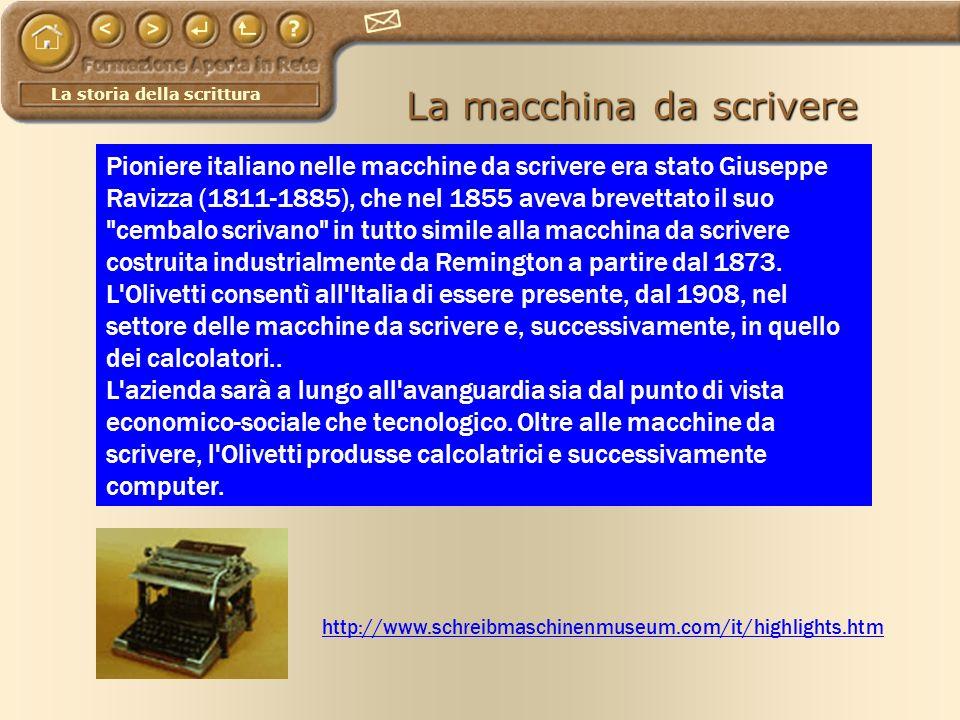 La storia della scrittura La macchina da scrivere http://www.schreibmaschinenmuseum.com/it/highlights.htm Pioniere italiano nelle macchine da scrivere