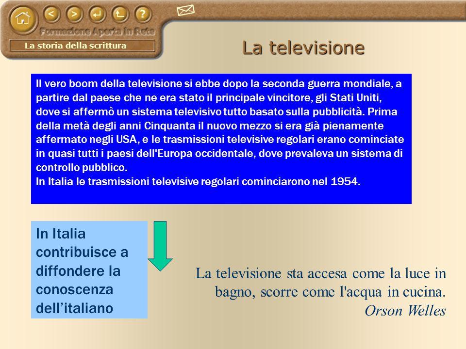 La storia della scrittura La televisione La televisione sta accesa come la luce in bagno, scorre come l'acqua in cucina. Orson Welles Il vero boom del
