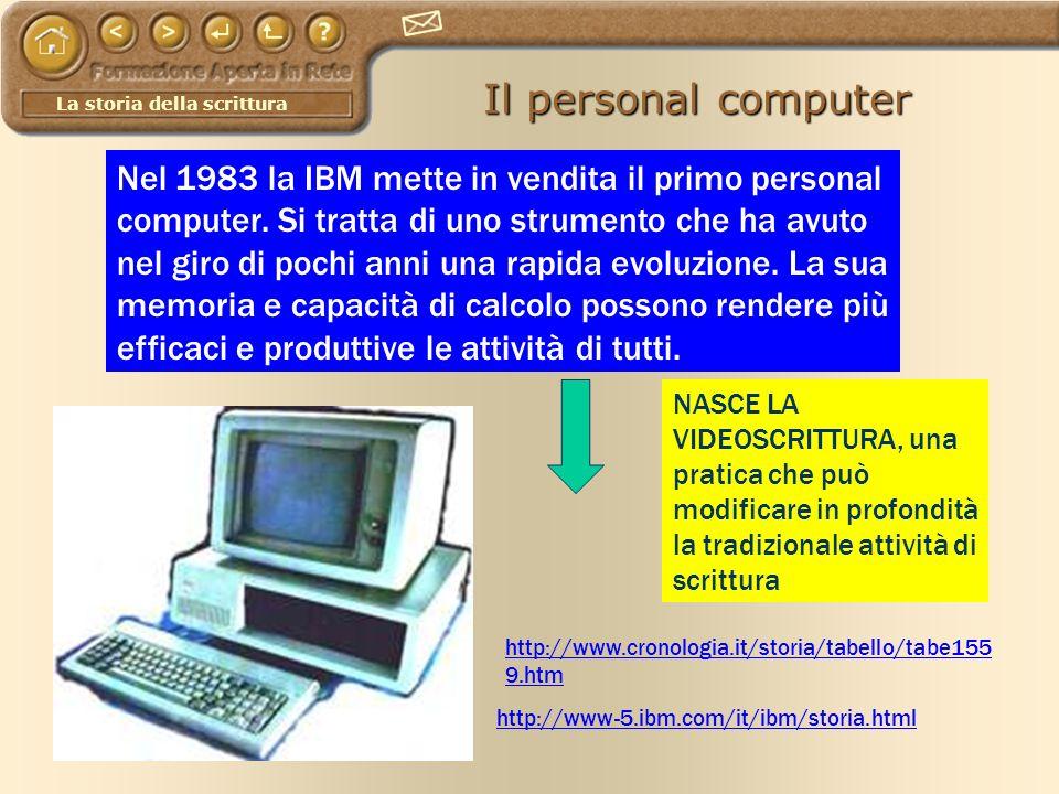 La storia della scrittura Il personal computer http://www.cronologia.it/storia/tabello/tabe155 9.htm http://www-5.ibm.com/it/ibm/storia.html Nel 1983