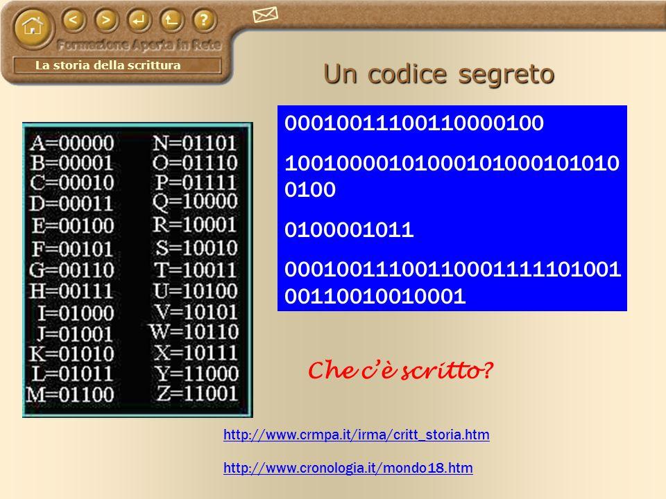 La storia della scrittura Un codice segreto http://www.cronologia.it/mondo18.htm http://www.crmpa.it/irma/critt_storia.htm 00010011100110000100 100100