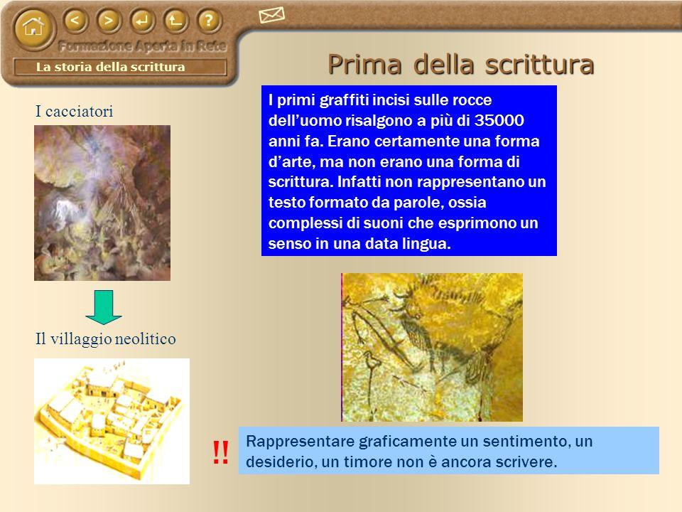La storia della scrittura Prima della scrittura I cacciatori Il villaggio neolitico I primi graffiti incisi sulle rocce delluomo risalgono a più di 35
