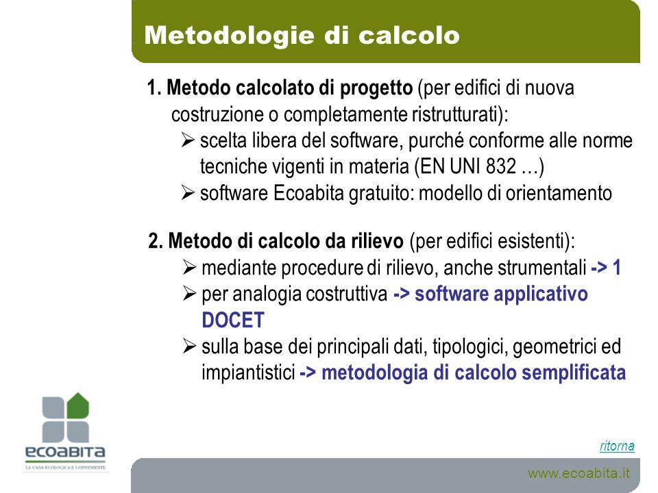 Metodologie di calcolo www.ecoabita.it 1. Metodo calcolato di progetto (per edifici di nuova costruzione o completamente ristrutturati): scelta libera