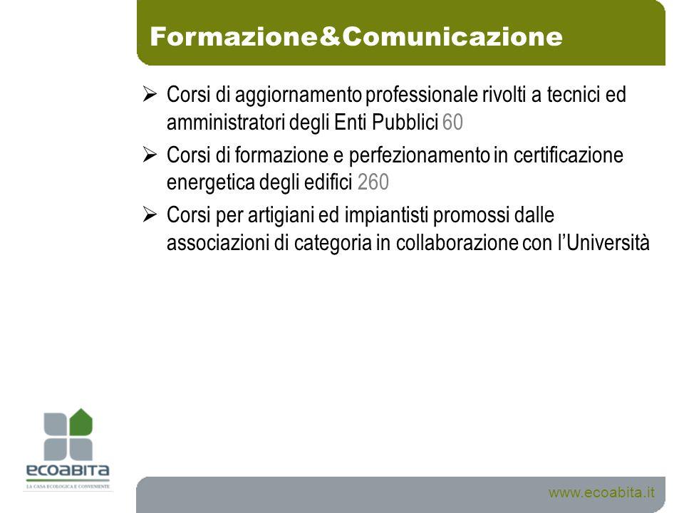 Formazione&Comunicazione www.ecoabita.it Corsi di aggiornamento professionale rivolti a tecnici ed amministratori degli Enti Pubblici 60 Corsi di form