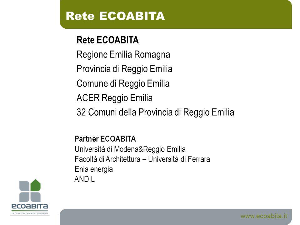 www.ecoabita.it Rete ECOABITA Regione Emilia Romagna Provincia di Reggio Emilia Comune di Reggio Emilia ACER Reggio Emilia 32 Comuni della Provincia d
