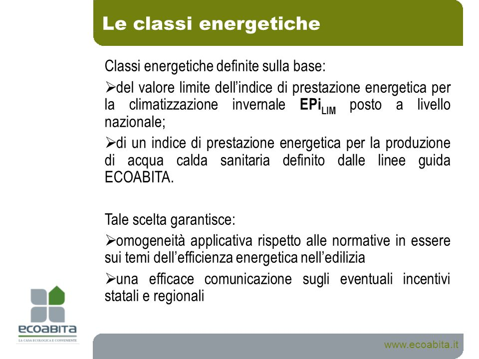 Le classi energetiche www.ecoabita.it Classi energetiche definite sulla base: del valore limite dellindice di prestazione energetica per la climatizza