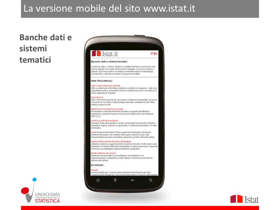 ROMA 21-22 FEBBRAIO 2013 La versione mobile del sito www.istat.it Banche dati e sistemi tematici