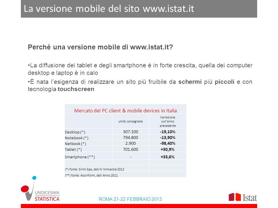 ROMA 21-22 FEBBRAIO 2013 La versione mobile del sito www.istat.it Il mercato dei personal & mobile device Valori in milioni di euro Fonte: Rapporto Assinform 2012