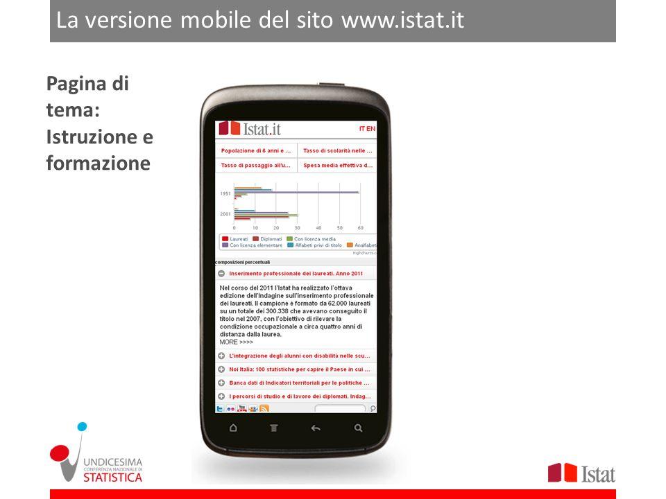 ROMA 21-22 FEBBRAIO 2013 La versione mobile del sito www.istat.it Pagina di tema: Istruzione e formazione