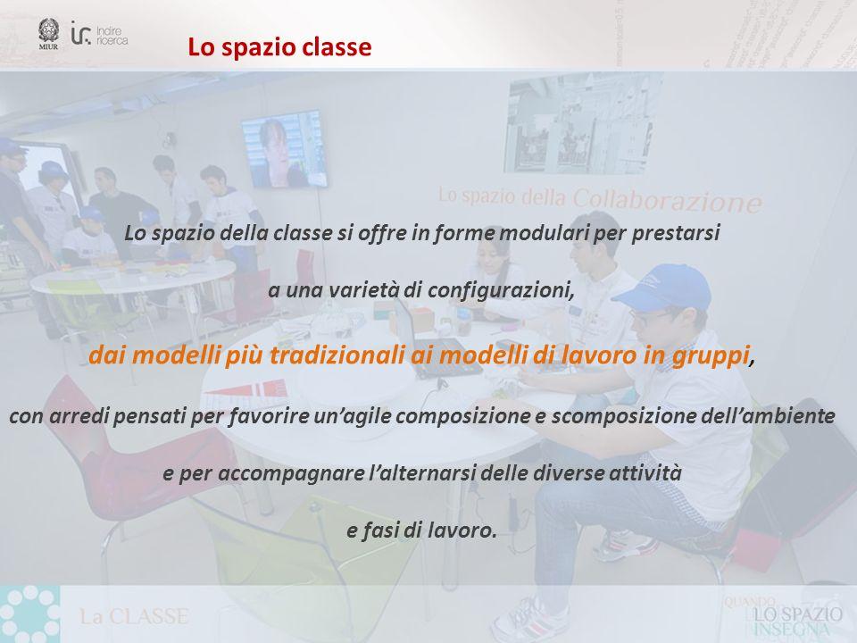 Lo spazio classe Lo spazio della classe si offre in forme modulari per prestarsi a una varietà di configurazioni, dai modelli più tradizionali ai mode
