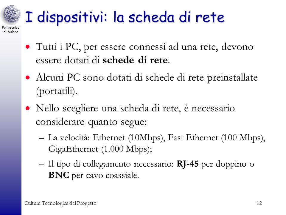 Politecnico di Milano Cultura Tecnologica del Progetto12 I dispositivi: la scheda di rete Tutti i PC, per essere connessi ad una rete, devono essere d