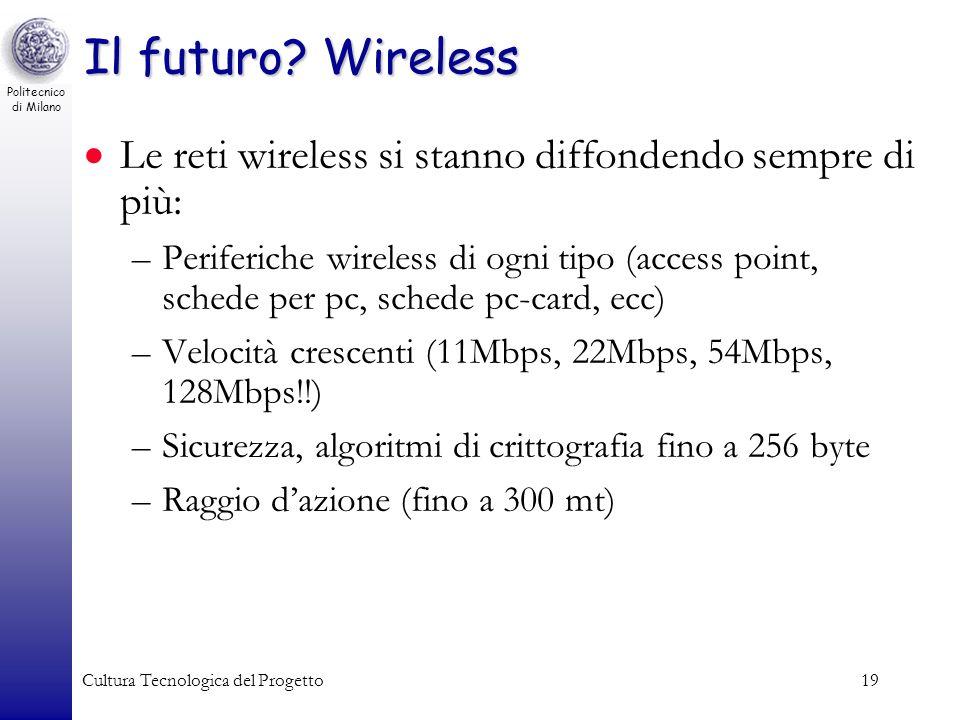 Politecnico di Milano Cultura Tecnologica del Progetto19 Il futuro? Wireless Le reti wireless si stanno diffondendo sempre di più: –Periferiche wirele