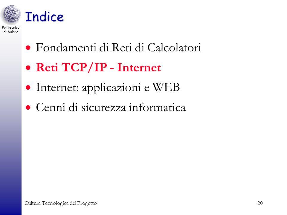 Politecnico di Milano Cultura Tecnologica del Progetto20 Indice Fondamenti di Reti di Calcolatori Reti TCP/IP - Internet Internet: applicazioni e WEB