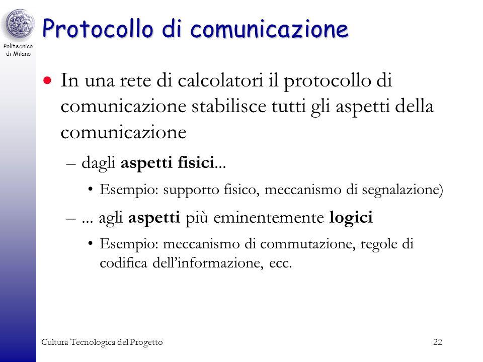 Politecnico di Milano Cultura Tecnologica del Progetto22 Protocollo di comunicazione In una rete di calcolatori il protocollo di comunicazione stabili
