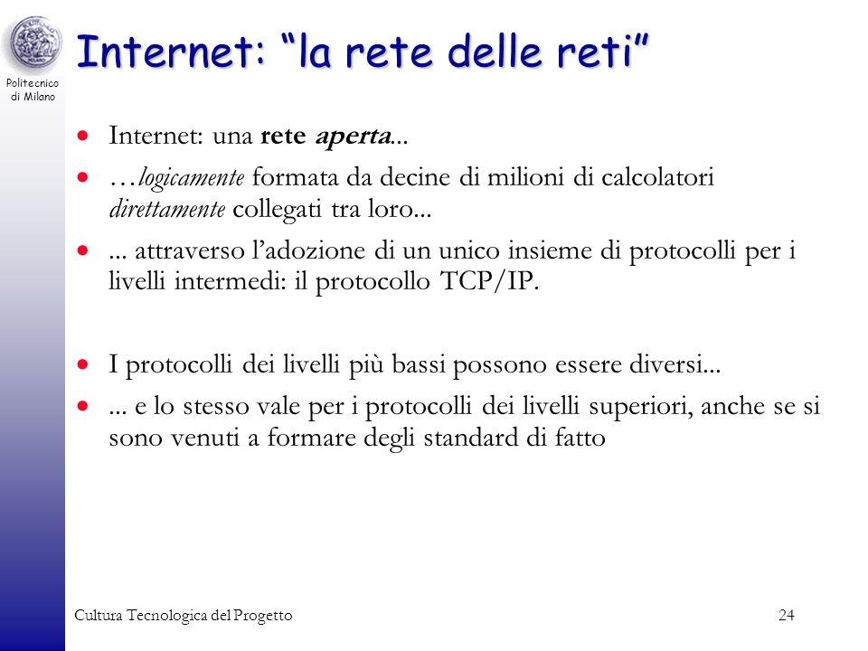 Politecnico di Milano Cultura Tecnologica del Progetto24 Internet: la rete delle reti Internet: una rete aperta... …logicamente formata da decine di m