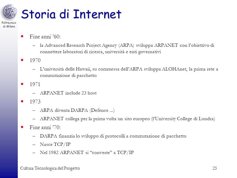 Politecnico di Milano Cultura Tecnologica del Progetto25 Storia di Internet Fine anni 60: –la Advanced Research Project Agency (ARPA) sviluppa ARPANET