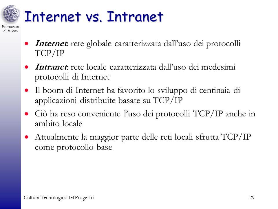 Politecnico di Milano Cultura Tecnologica del Progetto29 Internet vs. Intranet Internet: rete globale caratterizzata dalluso dei protocolli TCP/IP Int