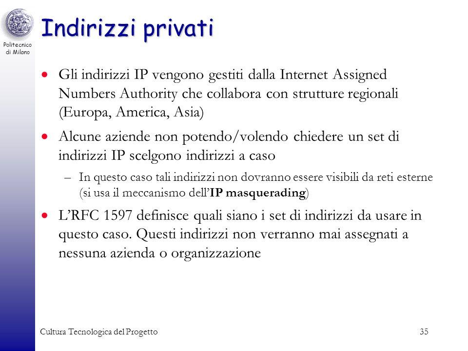 Politecnico di Milano Cultura Tecnologica del Progetto35 Indirizzi privati Gli indirizzi IP vengono gestiti dalla Internet Assigned Numbers Authority