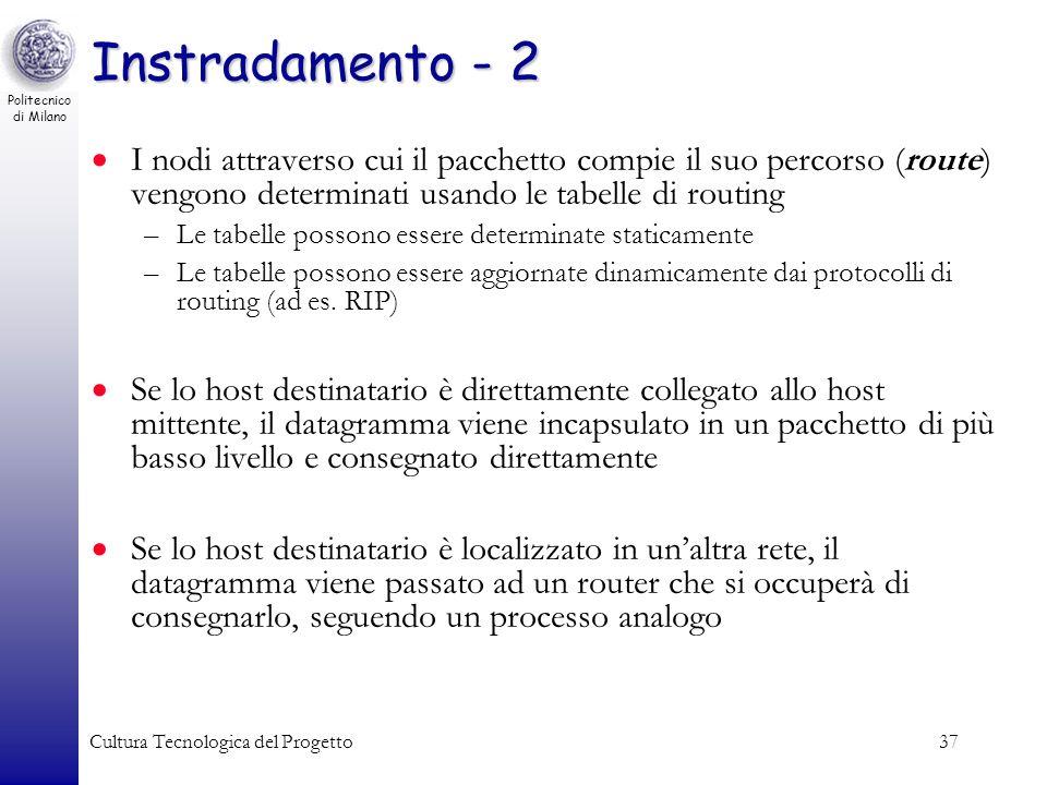 Politecnico di Milano Cultura Tecnologica del Progetto37 Instradamento - 2 I nodi attraverso cui il pacchetto compie il suo percorso (route) vengono d
