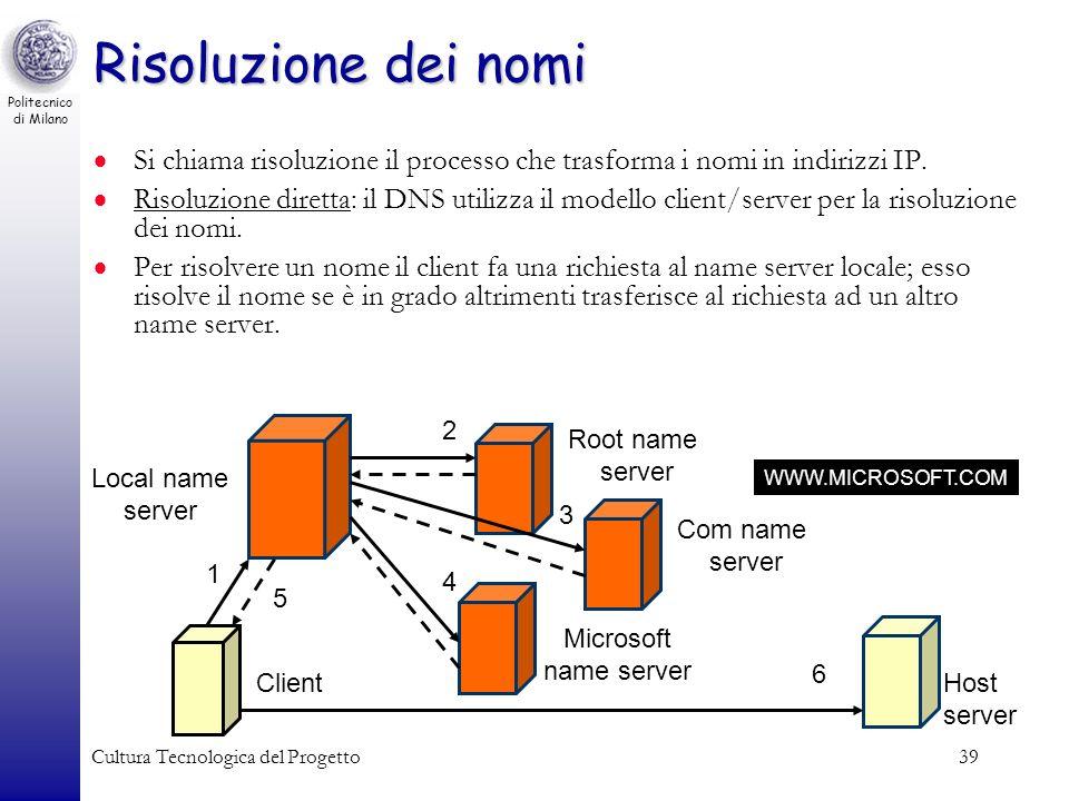 Politecnico di Milano Cultura Tecnologica del Progetto39 Risoluzione dei nomi Si chiama risoluzione il processo che trasforma i nomi in indirizzi IP.