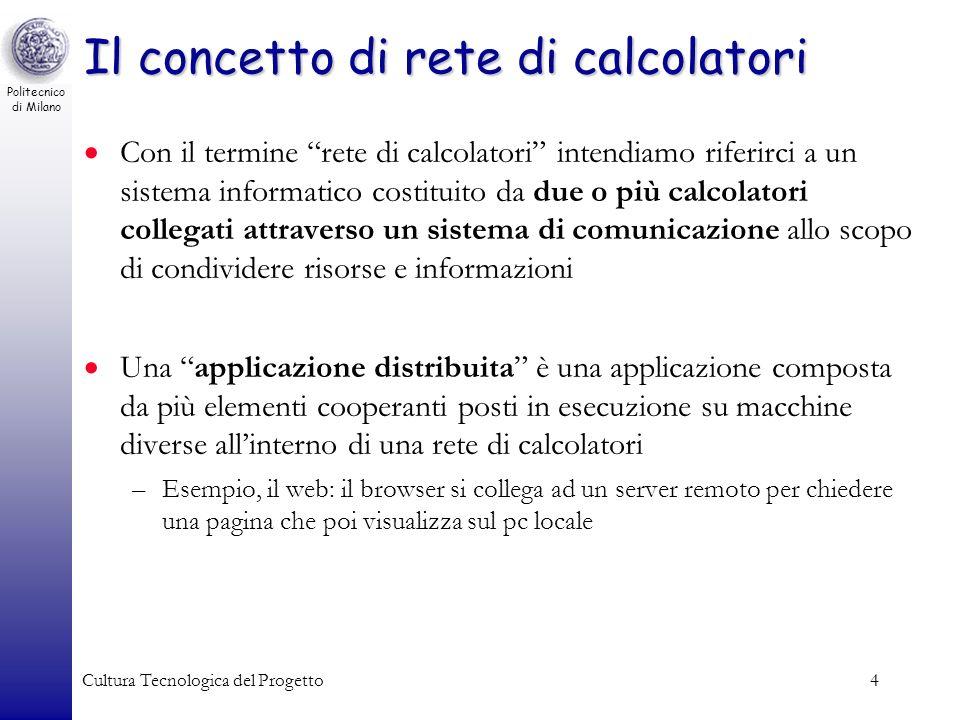 Politecnico di Milano Cultura Tecnologica del Progetto4 Il concetto di rete di calcolatori Con il termine rete di calcolatori intendiamo riferirci a u