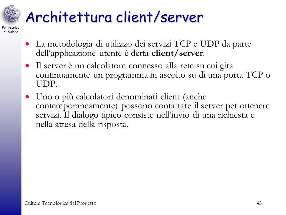 Politecnico di Milano Cultura Tecnologica del Progetto43 Architettura client/server La metodologia di utilizzo dei servizi TCP e UDP da parte dellappl