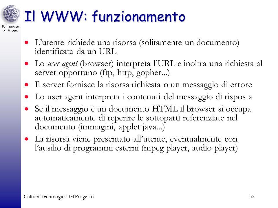 Politecnico di Milano Cultura Tecnologica del Progetto52 Il WWW: funzionamento Lutente richiede una risorsa (solitamente un documento) identificata da