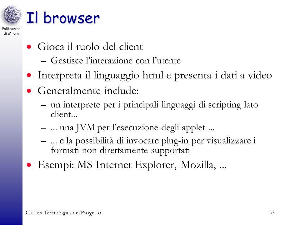 Politecnico di Milano Cultura Tecnologica del Progetto53 Il browser Gioca il ruolo del client –Gestisce linterazione con lutente Interpreta il linguag