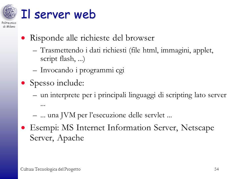 Politecnico di Milano Cultura Tecnologica del Progetto54 Il server web Risponde alle richieste del browser –Trasmettendo i dati richiesti (file html,