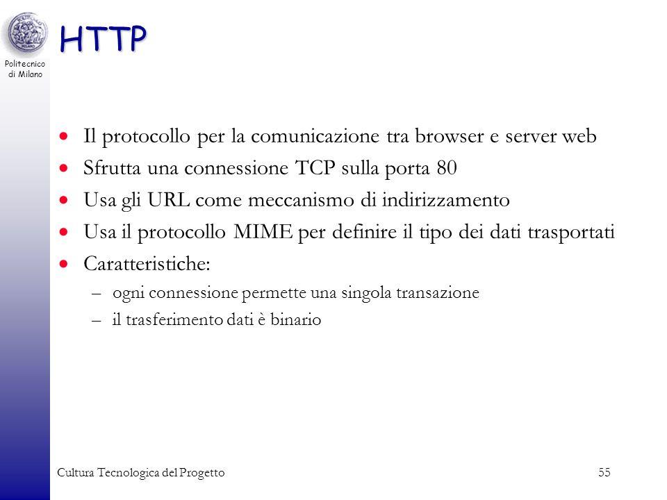 Politecnico di Milano Cultura Tecnologica del Progetto55 HTTP Il protocollo per la comunicazione tra browser e server web Sfrutta una connessione TCP