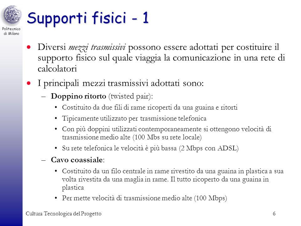 Politecnico di Milano Cultura Tecnologica del Progetto6 Supporti fisici - 1 Diversi mezzi trasmissivi possono essere adottati per costituire il suppor