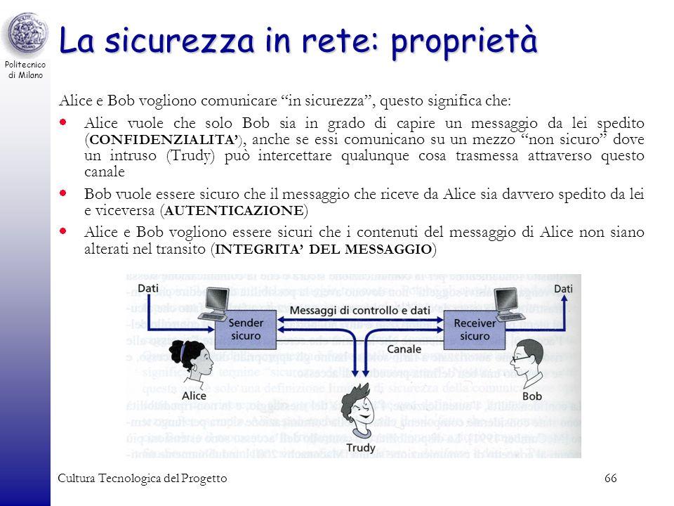Politecnico di Milano Cultura Tecnologica del Progetto66 La sicurezza in rete: proprietà Alice e Bob vogliono comunicare in sicurezza, questo signific